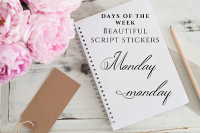 Calligraphic and Elegant Black Days of the Week Script Stickers