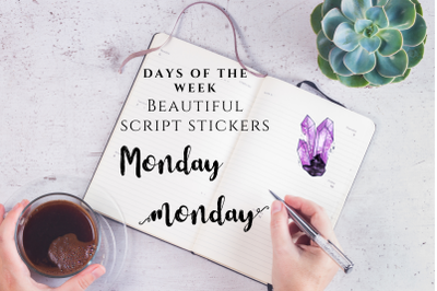 Black Days of the Week Script Stickers, Brush Font