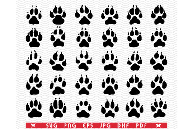 SVG Dogs Paws, Black Silhouette, Digital clipart