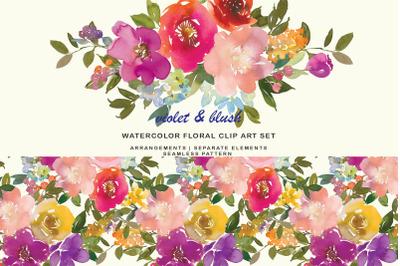 Violet and Blush Watercolor Floral Clipart Set