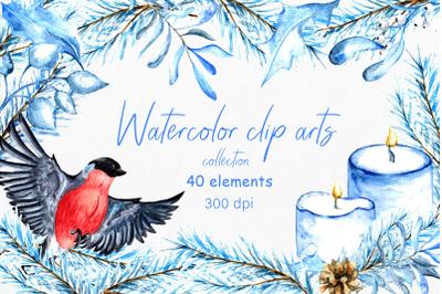 Watercolor winter clip arts. 40 elements, PNG 300dpi