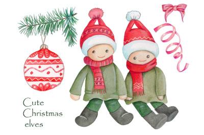 Cute Christmas elves. Watercolor illustration + elements.
