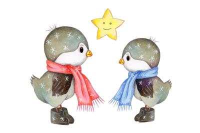 Two cute winte birds. Watercolor.