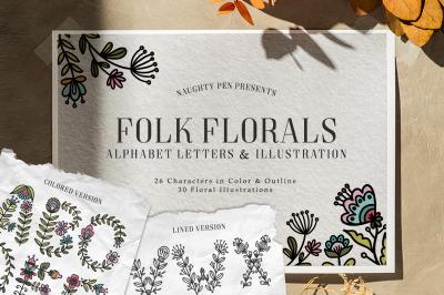Folk Floral Alphabet Letters and Illustration