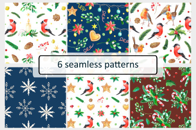 Watercolor christmas patterns 2