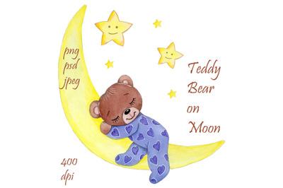 Teddy on Moon. Watercolor hand drawn illustration.