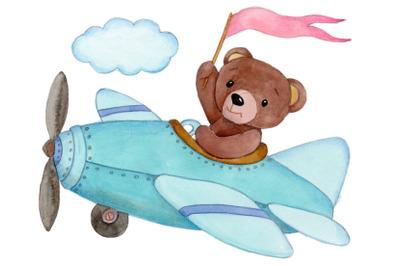 Teddy on Plane. Watercolor illustration.