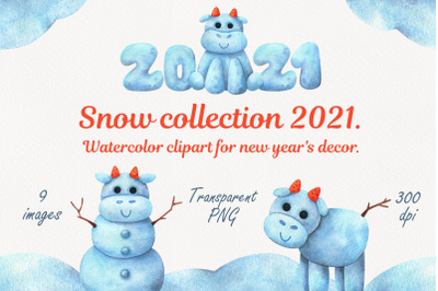 Christmas snow collection with bulls. Watercolor clipart