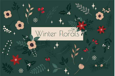 Winter Botanical Set, Floral Elements, Leaves and Branches
