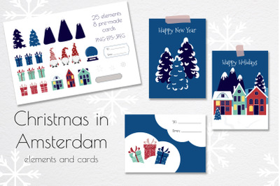 Christmas Cards Set, pre-made greeting cards and Christmas elements