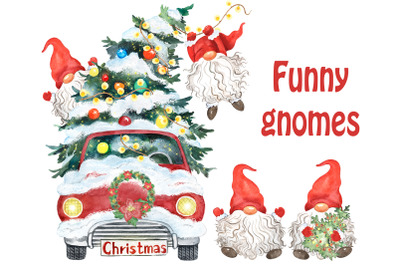 Red Christmas Gnomes Clipart Truck. Christmas tree