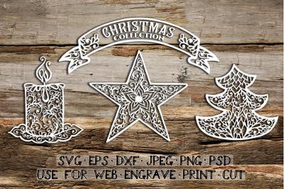 Set of Christmas templates| SVG DXF EPS PSD PNG JPEG