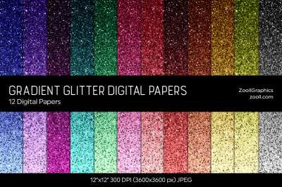 Gradient Glitter Digital Papers