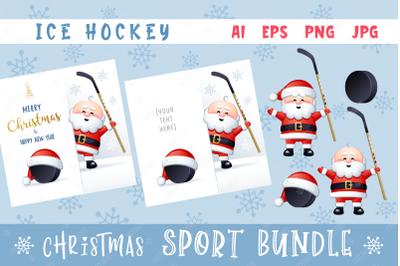 Merry Christmas and Happy New Year. Ice Hockey.