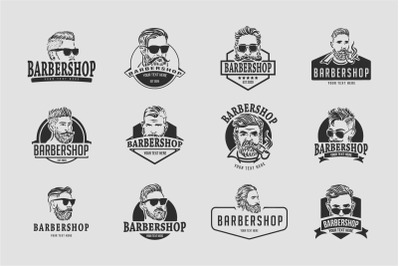12 Barber Shop logo templates with changeable text