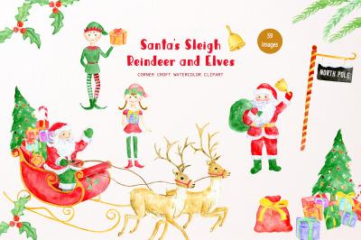 Santa's Sleigh, Reindeer, Santa Claus and Elves