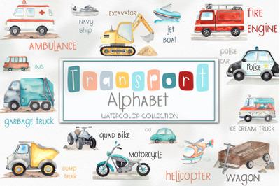 Watercolor Transport alphabet