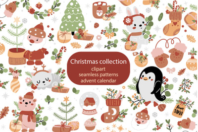 Christmas collection with cute animals