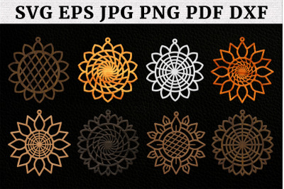 Sunflowers Earring SVG, Earrings Templates, Cutting Files