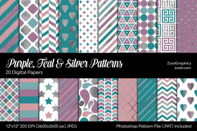 Purple, Teal And Silver Digital Papers