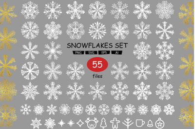 Set with snowflakes