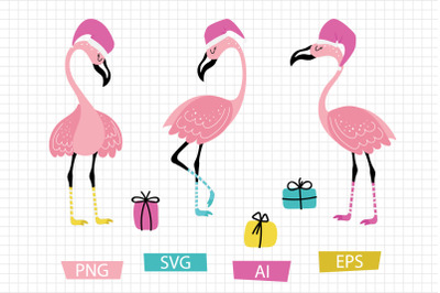 Christmas flamingos set