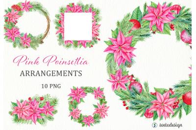 Christmas Pink Poinsettia arrangememnts watercolor clipart.