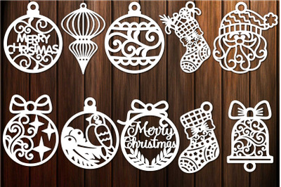 Christmas Decorations Ornaments Baubles Toys Template SVG