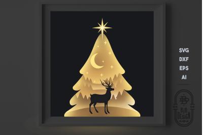 Christmas Tree - SVG 3D Scene, Layered Design - Paper Light Box