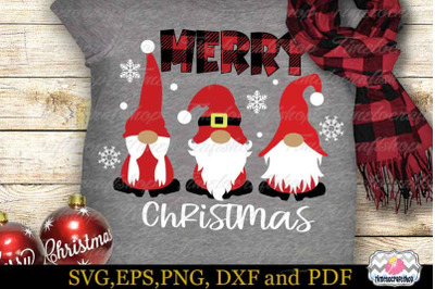 Christmas Gnomes in SVG, Merry Christmas Gnome SVG, Cricut SVG