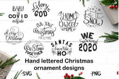 Hand lettered Christmas ornament set