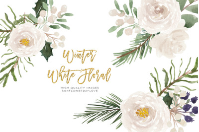 White Flowers clipart, Watercolor Frame Christmas floral