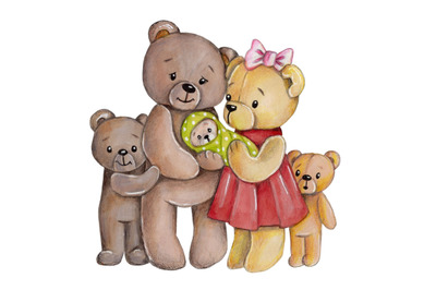 Teddys' Family. Watercolor illustration.