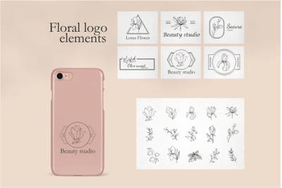 Floral elements for logo-templates for design-vector frames in SVG