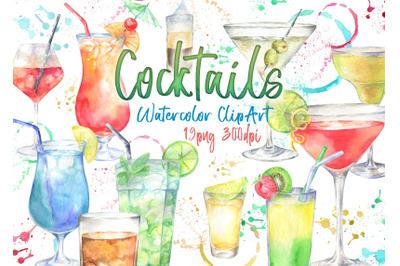 Watercolor alcoholic cocktails clipart Cocktail Illustration clip art
