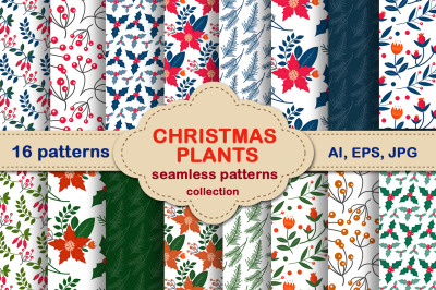 Christmas plants seamless pattern set