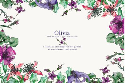 Purple Watercolor Floral Clipart Set