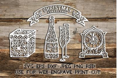 Set of Christmas templates | SVG DXF EPS PSD PNG JPEG
