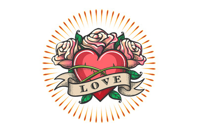 Love Theme Tattoo with Heart and Rose Flowers