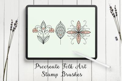Modern Folk Art Flowers Procreate Stamp Brushes