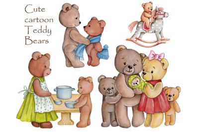 Cute cartoon Teddy Bears. Watercolor illustrations.
