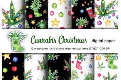 Cannabis christmas watercolor digital paper. Marijuana patterns set