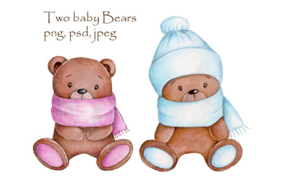 Two Baby Bears. Watercolor illustrations.