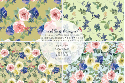 """Watercolor Floral Seamless Pattern Collection 12""""x12"""""""