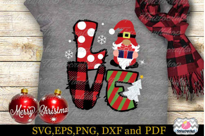 Christmas Gnome Love SVG, Christmas Gnome SVG, Buffalo Plaid Love SVG