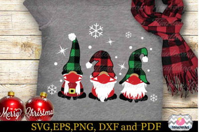 Christmas Gnomes with Face Masks, Christmas Gnome SVG, Buffalo Plaid