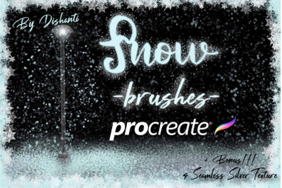 20 Procreate Snow Brushes. Snowflakes Stamps for Ipad.