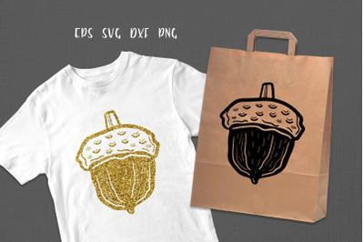 Acorn cricut digital illustration. T Shirt print, silhouette
