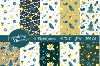 Christmas watercolor digital paper. 12 semless patterns