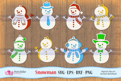 Snowman SVG, Eps, Dxf and Png. Winter Hanging Decor